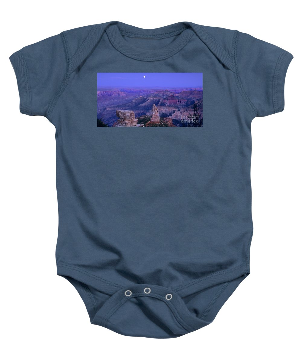 North America Baby Onesie featuring the photograph Panorama Moonrise Over Point Imperial Grand Canyon National Park by Dave Welling