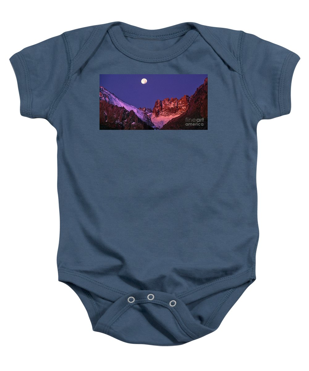 North America Baby Onesie featuring the photograph Panorama Moonset Middle Palisades Glacier Eastern Sierras California by Dave Welling