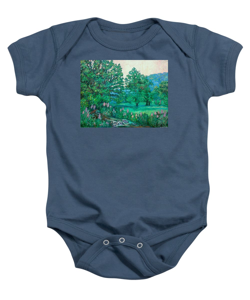 Landscape Baby Onesie featuring the painting Park Road In Radford by Kendall Kessler