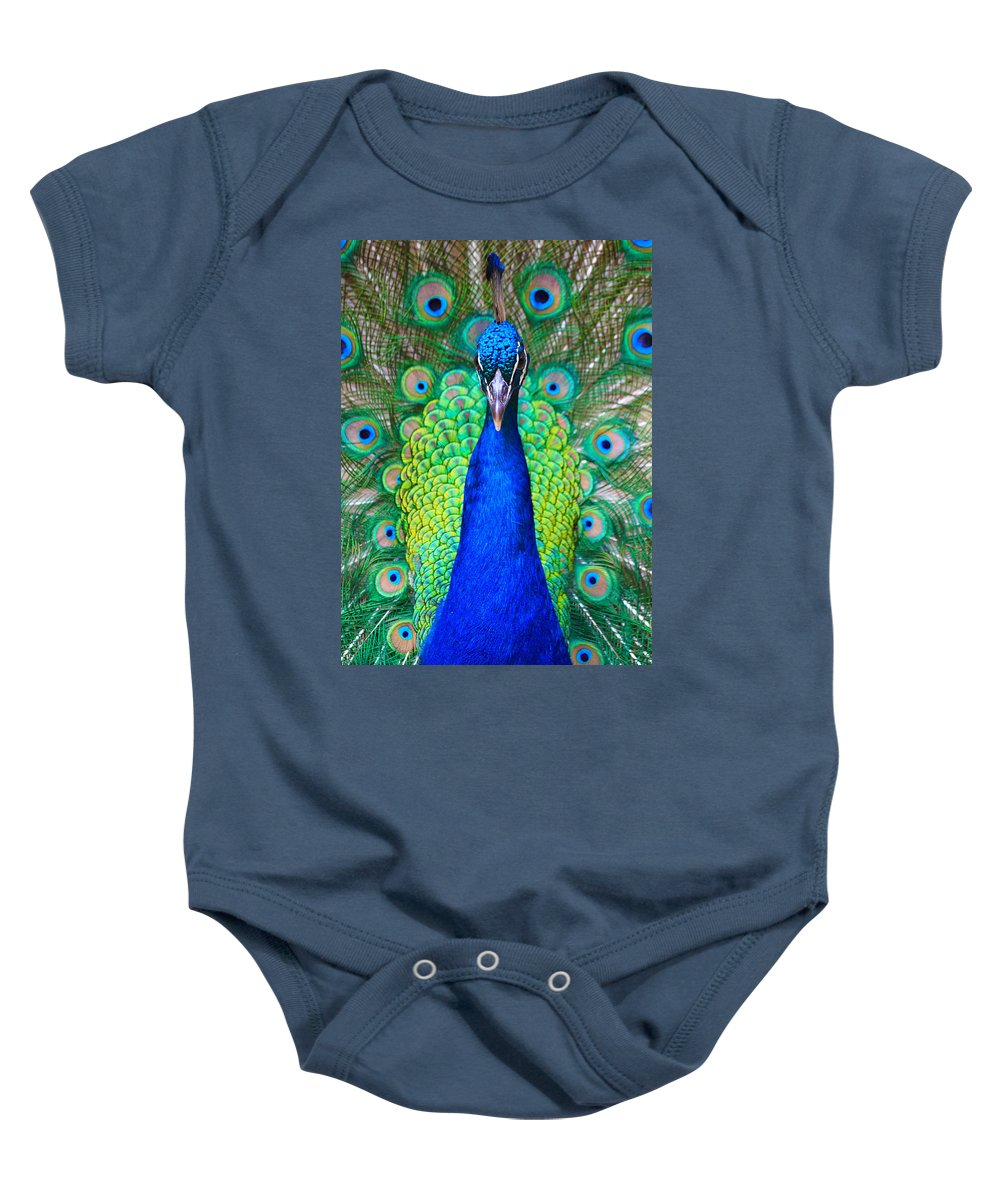 Birds Baby Onesie featuring the photograph Peacock 1 by Steve Herndon