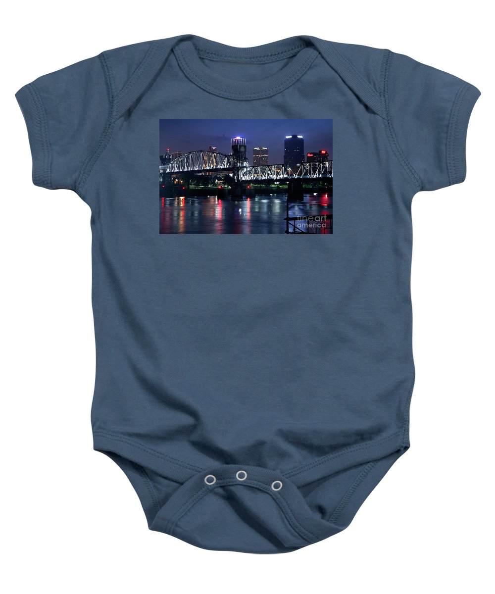 Bank Of Americal Plaza Baby Onesie featuring the photograph Pedestrian Bridge In Little Rock Arizona by Bill Cobb