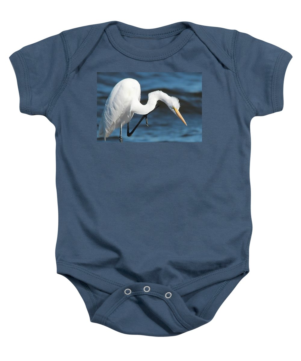 Heron Baby Onesie featuring the photograph Heron by Marilyn Dykes