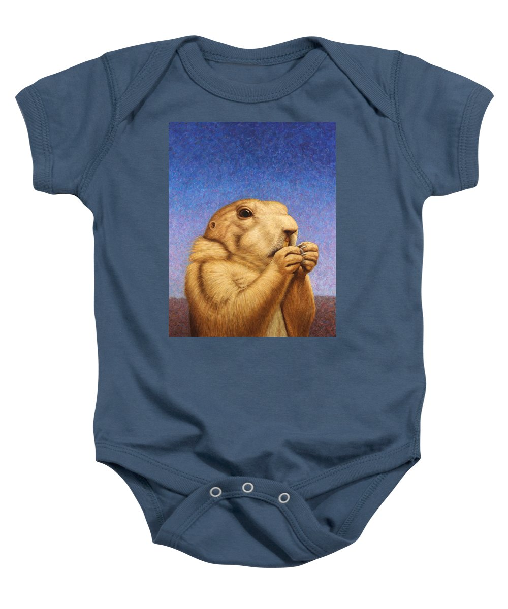 Prairie Dog Baby Onesie featuring the painting Prairie Dog by James W Johnson