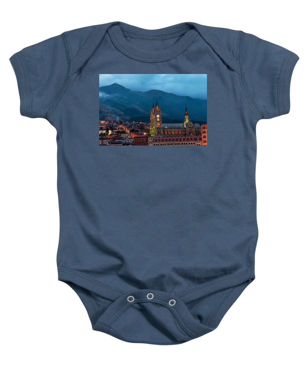 Cathedral Baby Onesie featuring the photograph Quito Basilica At Night by Jess Kraft