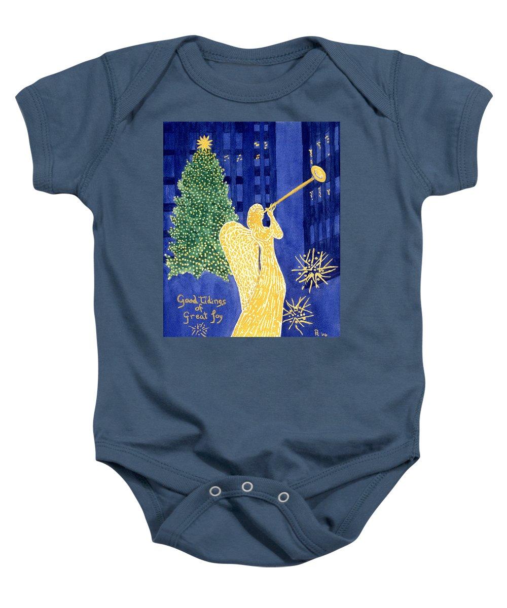 Rockefeller Baby Onesie featuring the painting Rockefeller Angel by Rhonda Leonard