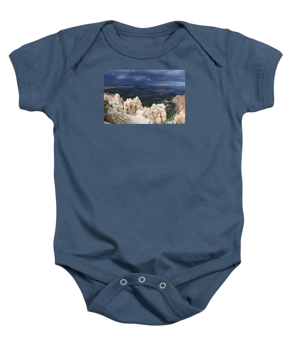 Bryce Canyon Baby Onesie featuring the photograph Rough Skys Over Bryce Canyon by Christiane Schulze Art And Photography