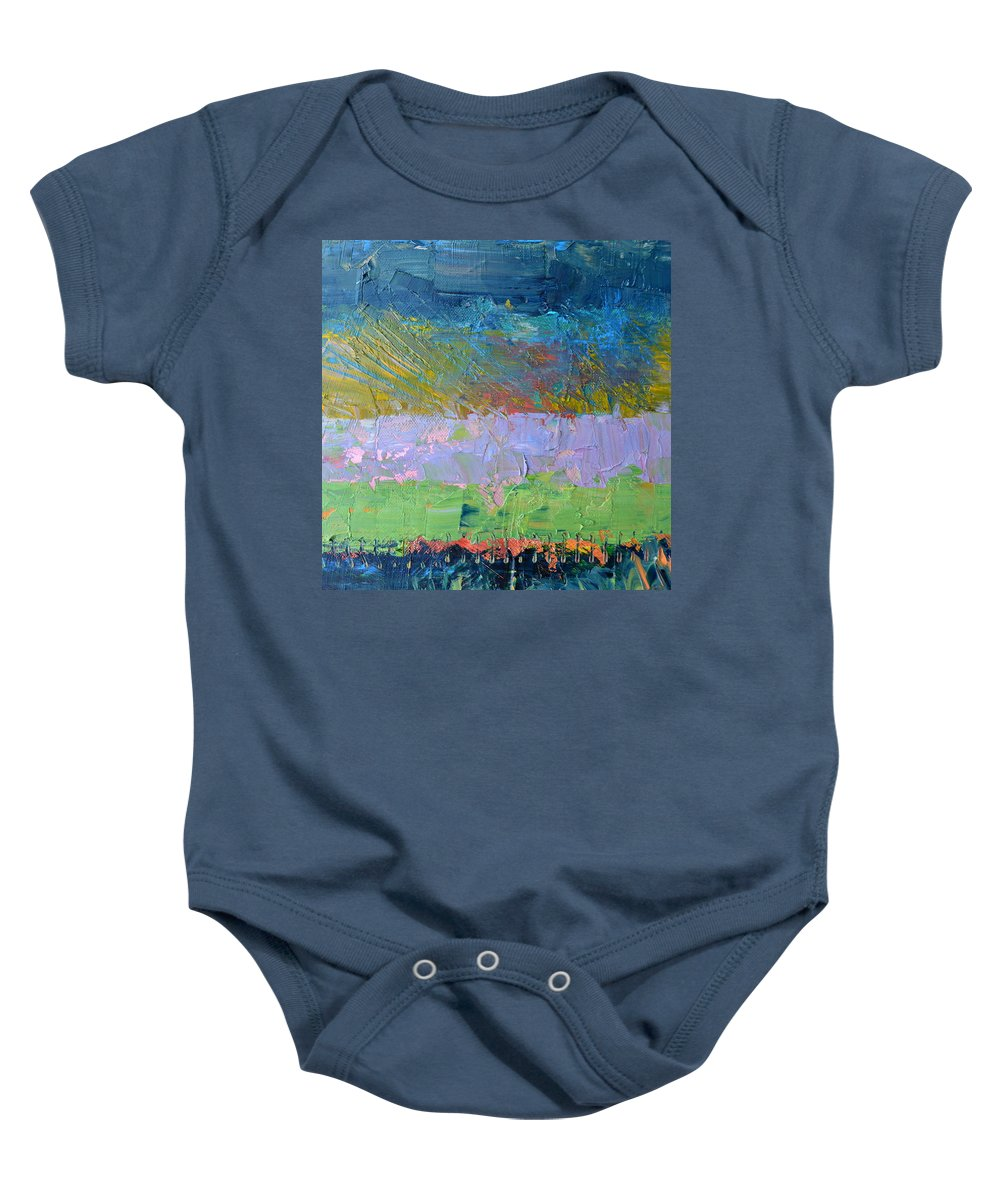Rustic Baby Onesie featuring the painting Rustic Roadside Series - Lilac Bushes by Michelle Calkins