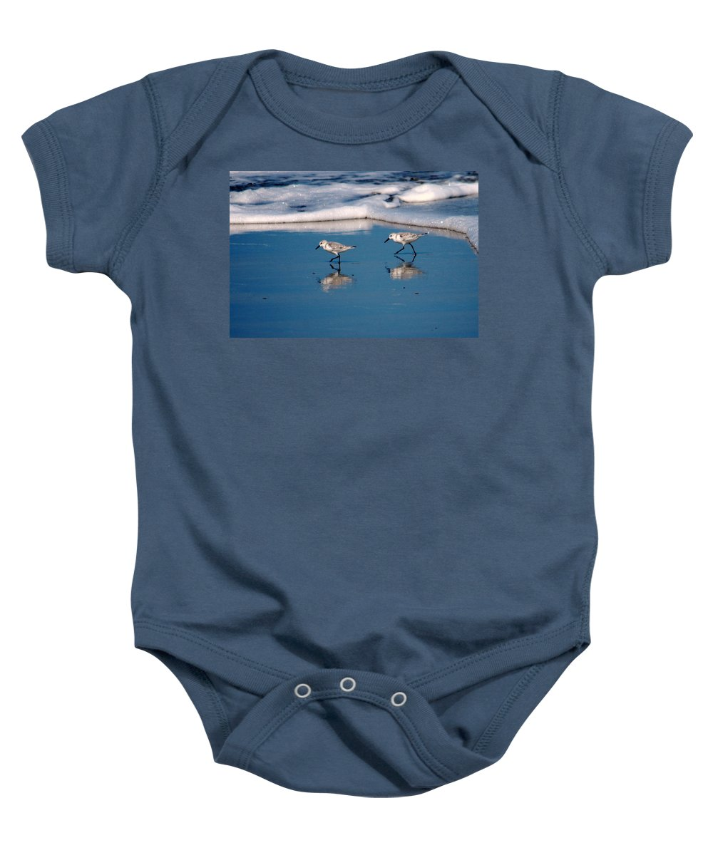 Sandpiper Baby Onesie featuring the photograph Sanderling 002 by Larry Ward