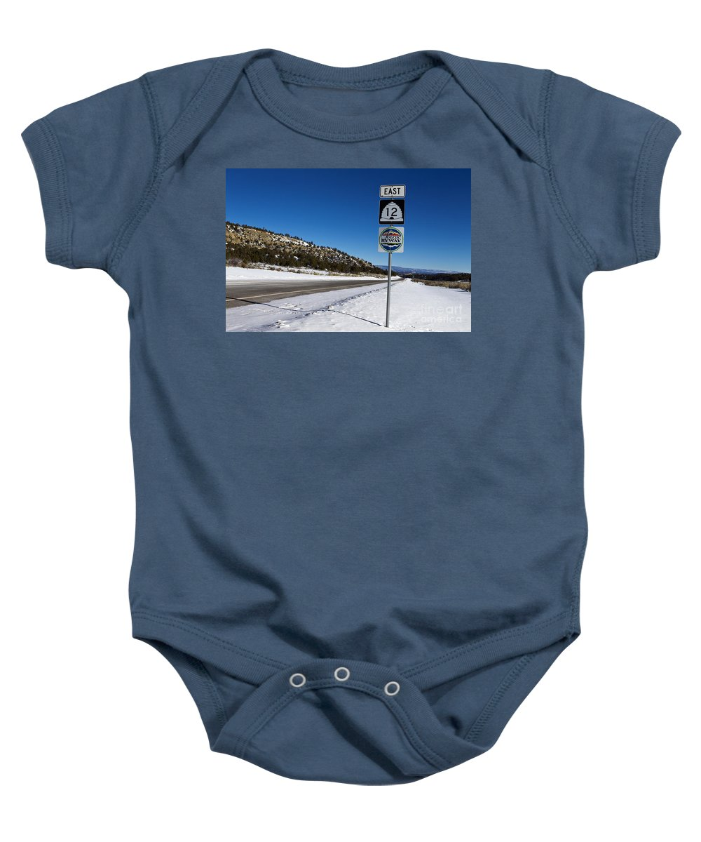 Scenic Byway Baby Onesie featuring the photograph Scenic Highway 12 With Snow Utah by Jason O Watson