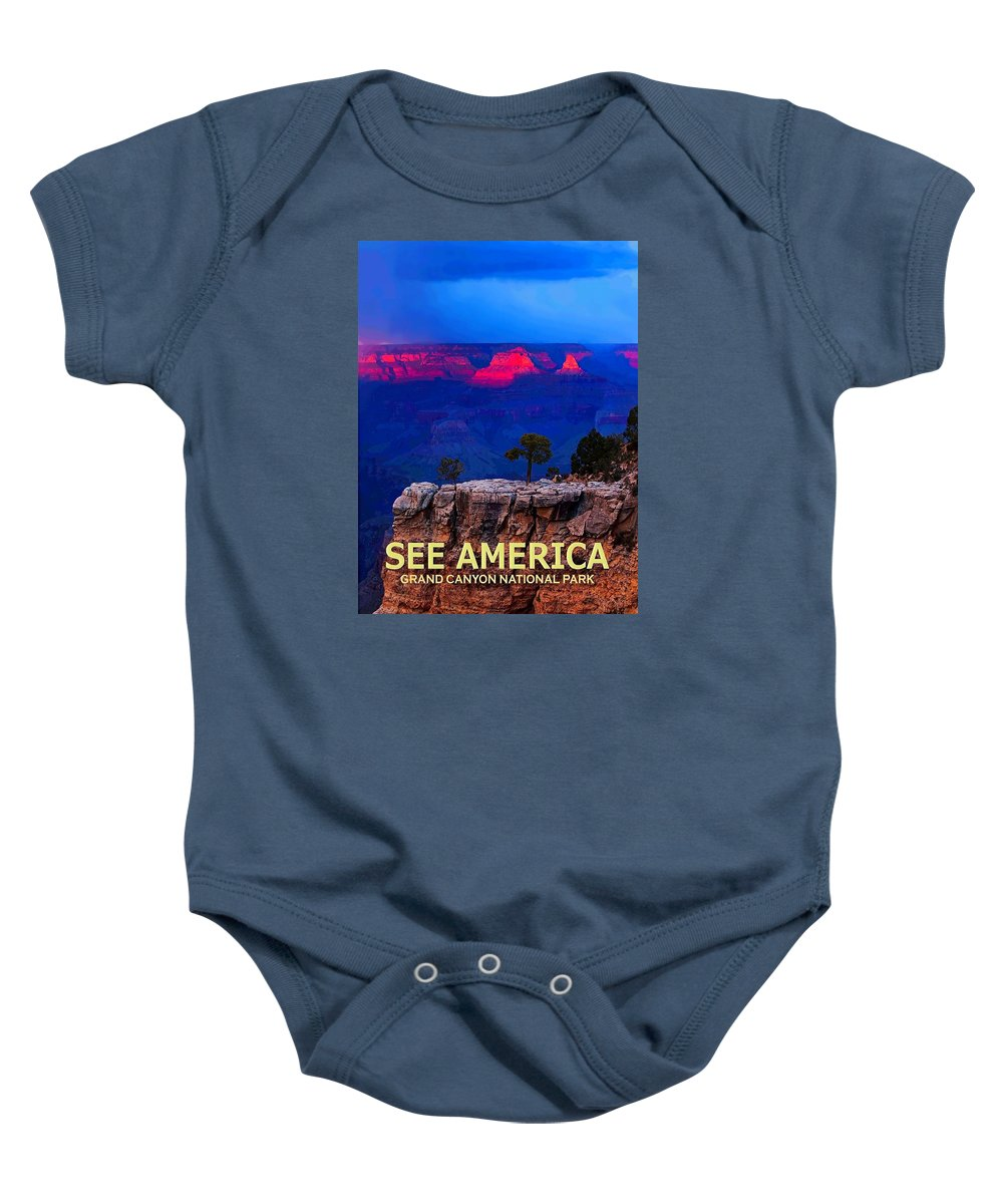 Poster Baby Onesie featuring the digital art See America - Grand Canyon National Park by Ed Gleichman