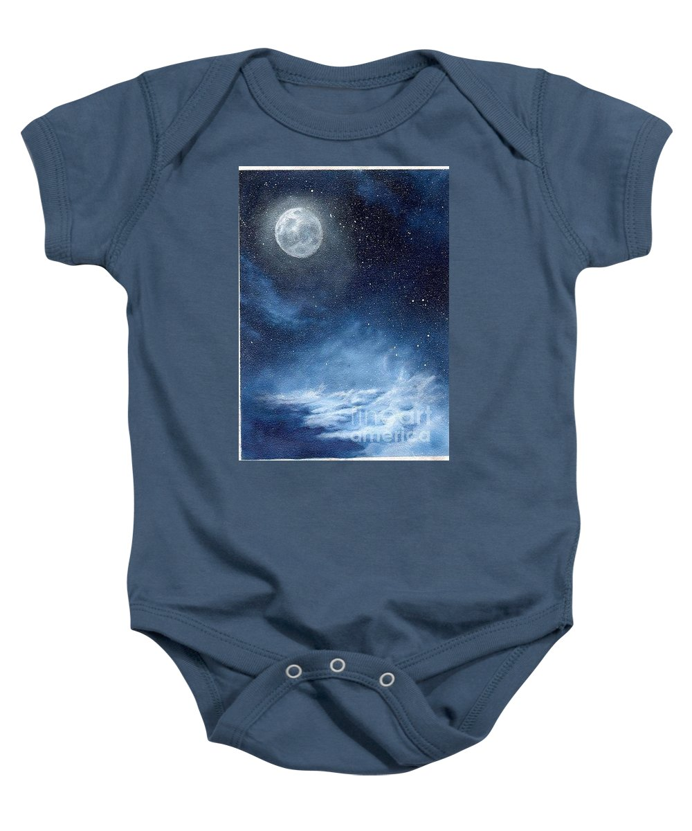 Cosmos Baby Onesie featuring the painting Shimmer by Murphy Elliott