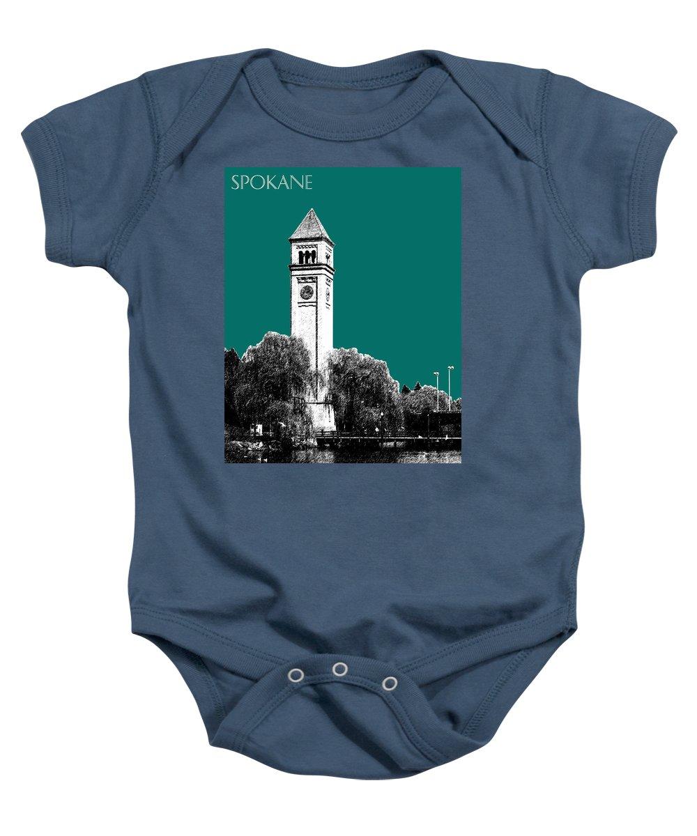 Architecture Baby Onesie featuring the digital art Spokane Skyline Clock Tower - Sea Green by DB Artist
