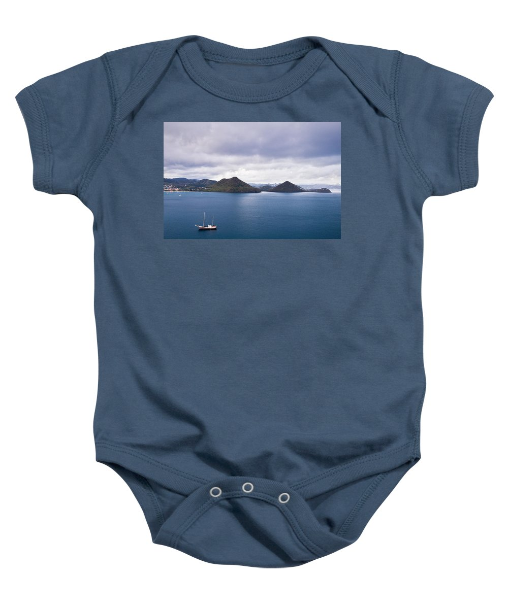 Landscape Baby Onesie featuring the photograph St. Lucia Seascape by Ferry Zievinger