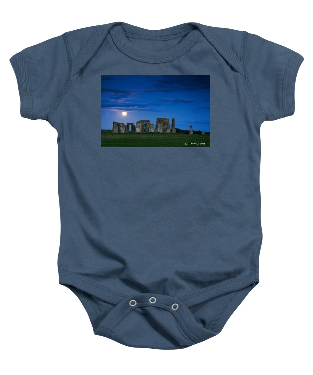 Stonehenge Baby Onesie featuring the painting Stonehenge At Night by Bruce Nutting