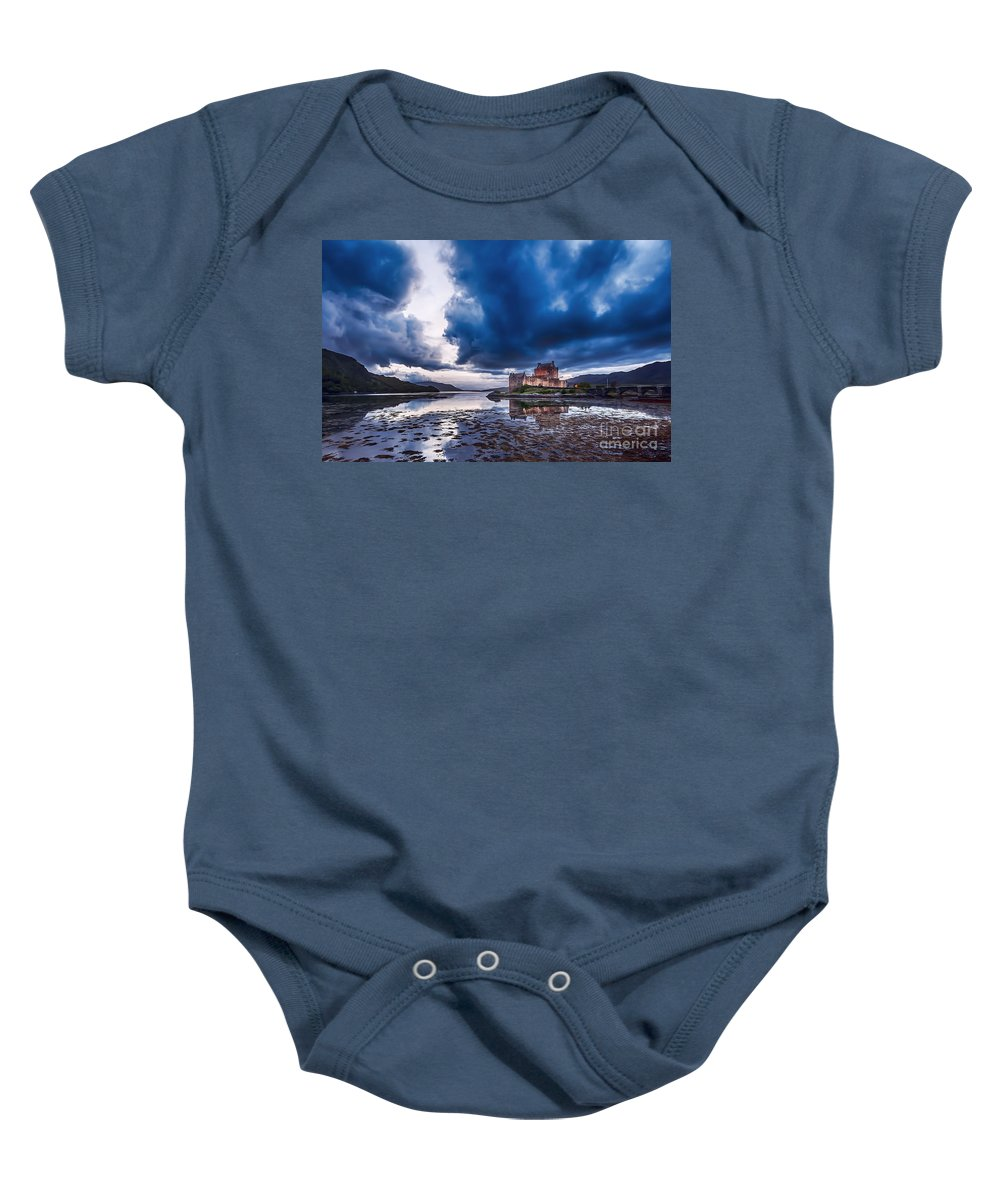 Eilean Donan Castle Baby Onesie featuring the photograph Stormy Skies Over Eilean Donan Castle by Bel Menpes