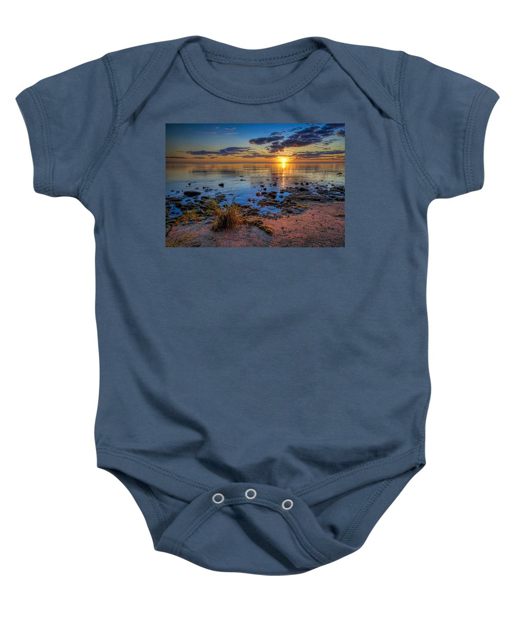 Sun Baby Onesie featuring the photograph Sunrise Over Lake Michigan by Scott Norris