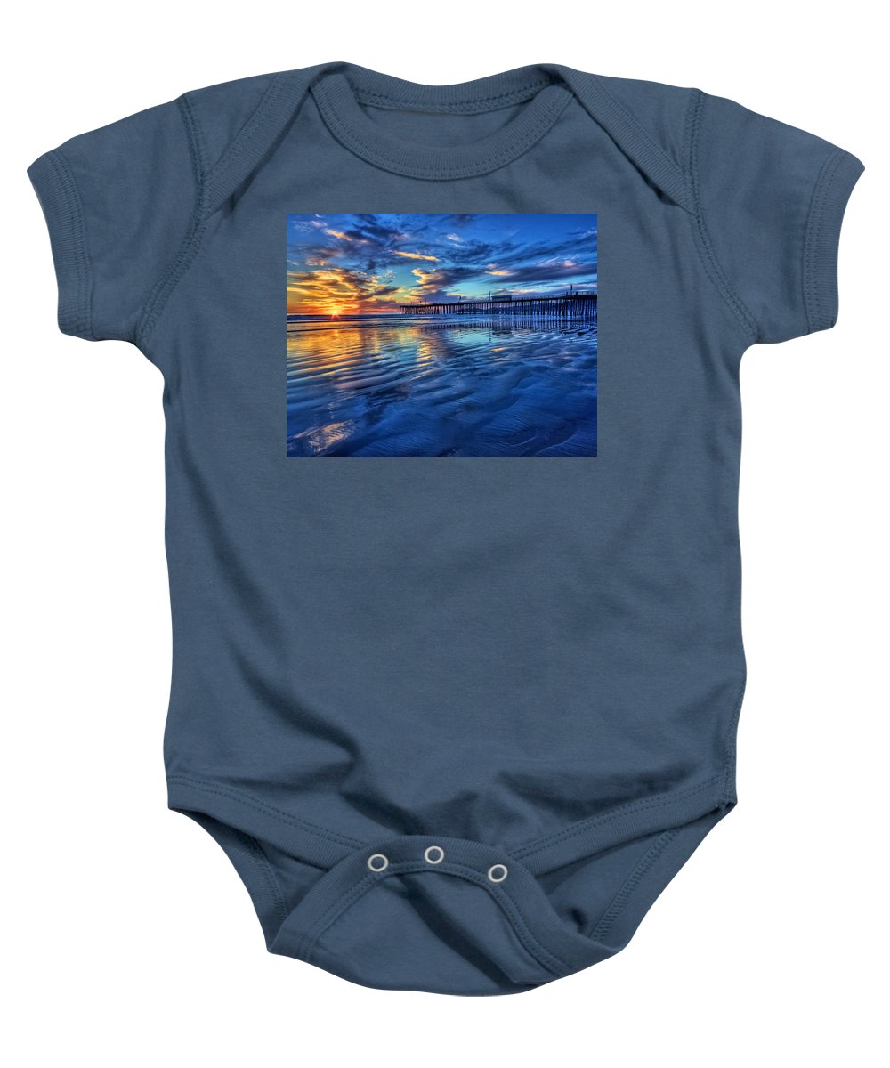 Pismo Beach Baby Onesie featuring the photograph Sunset In Blue by Beth Sargent