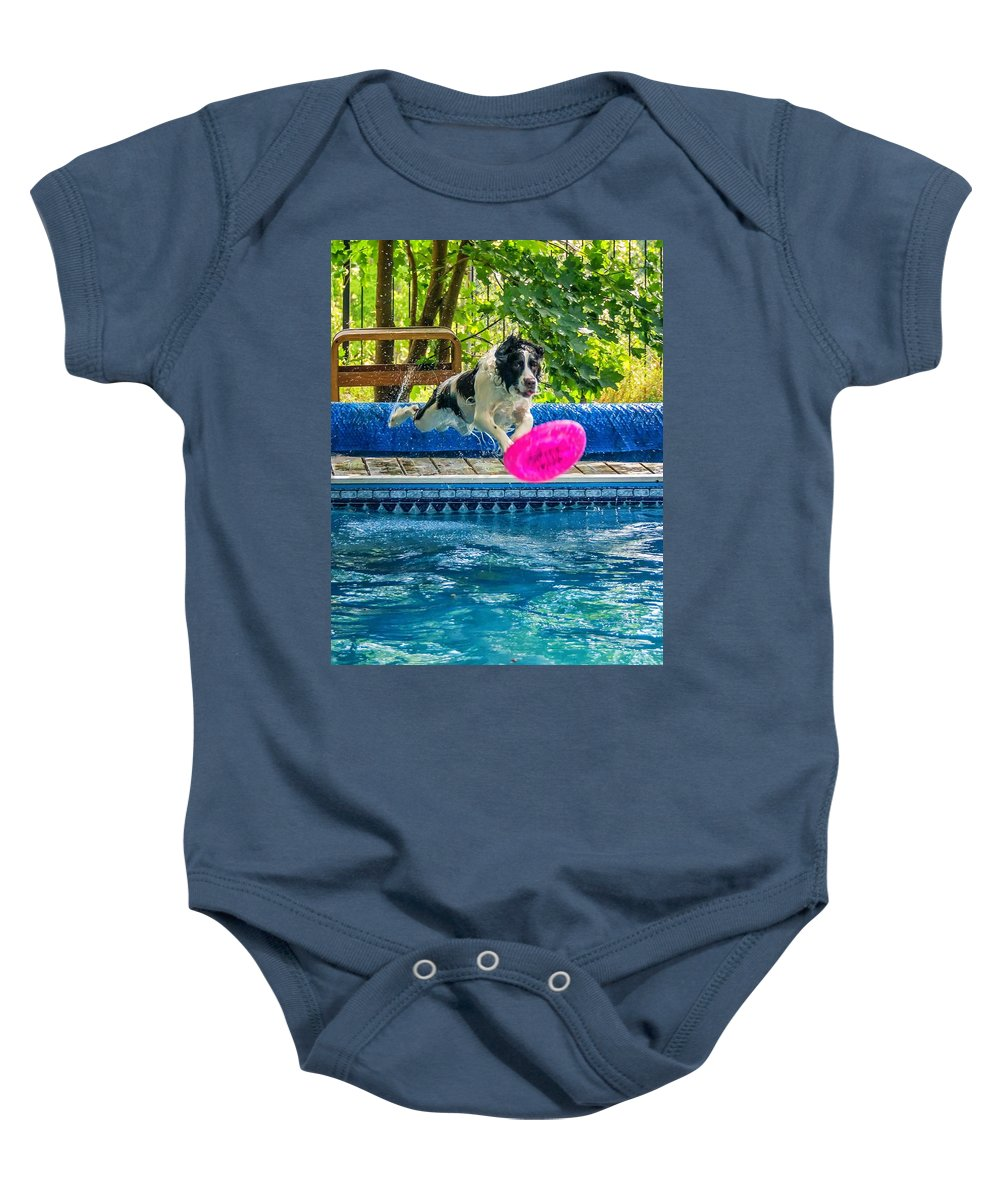 English Springer Spaniel Baby Onesie featuring the photograph Super Dog 2 by Steve Harrington