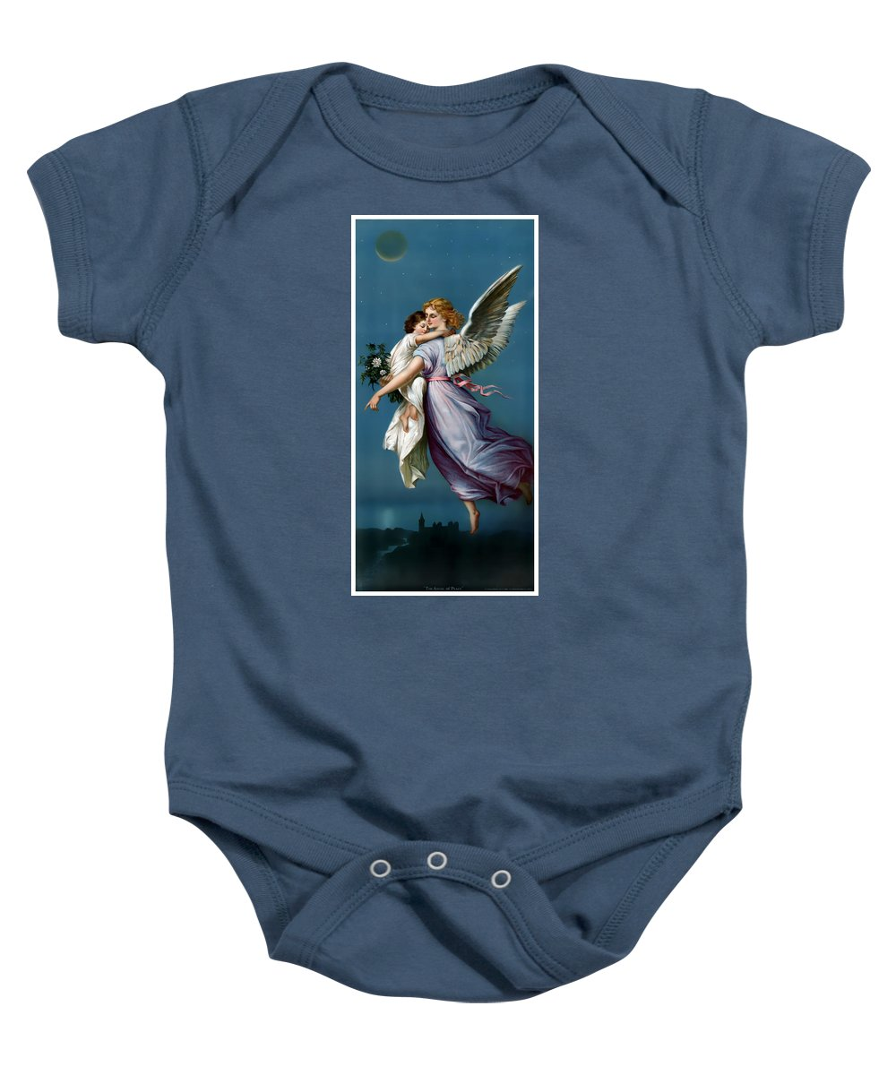 Vintage Poster Baby Onesie featuring the painting The Angel Of Peace by Terry Reynoldson