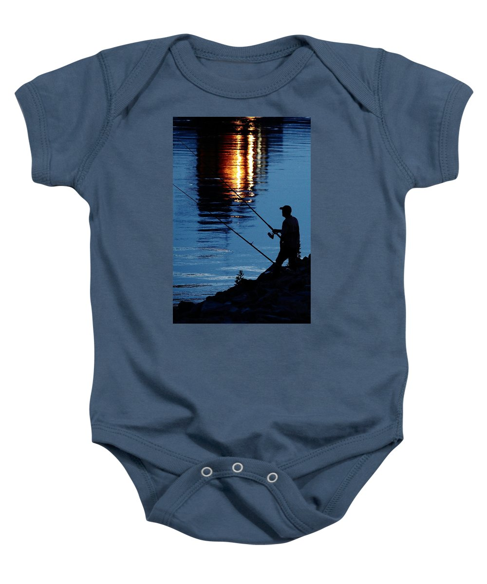 Fish Baby Onesie featuring the photograph The Fisherman by Karen Beasley