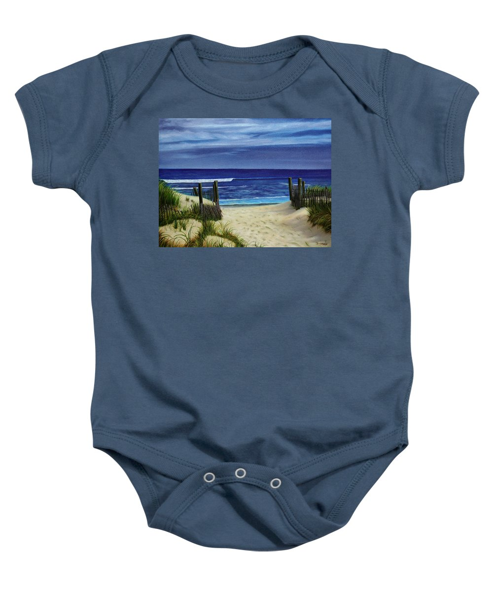 Beach Baby Onesie featuring the painting The Jersey Shore by Daniel Carvalho