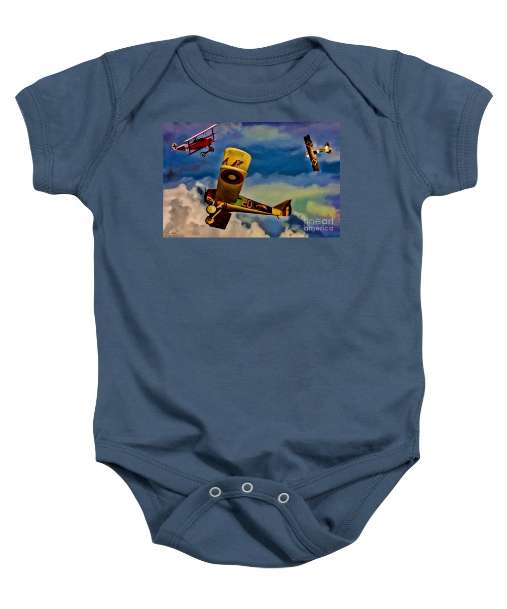 World War 1 Baby Onesie featuring the digital art The Mean French Skies by Tommy Anderson
