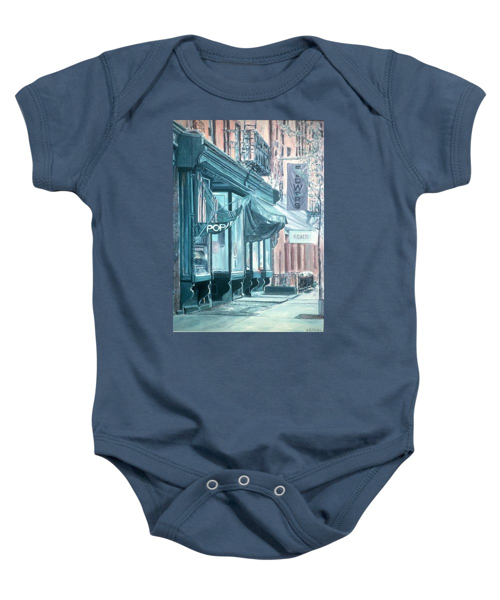 Soho Baby Onesie featuring the painting Thompson Street by Anthony Butera