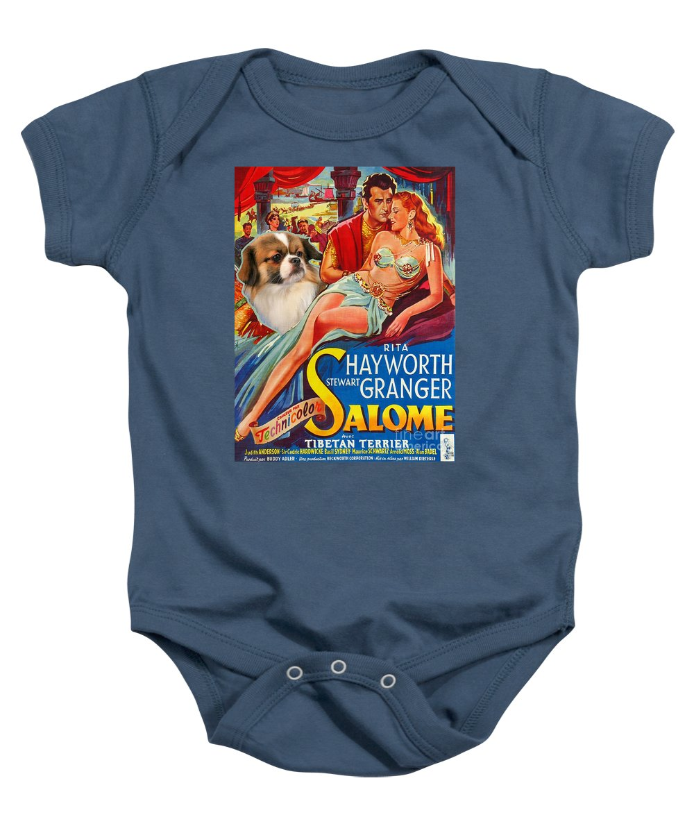 Dog Baby Onesie featuring the painting Tibetan Spaniel Art - Salome Movie Poster by Sandra Sij
