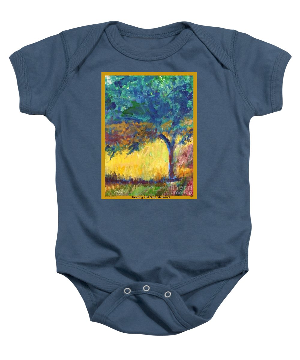 Tuscany Baby Onesie featuring the painting Tuscany Hill Side Shadows by Eric Schiabor