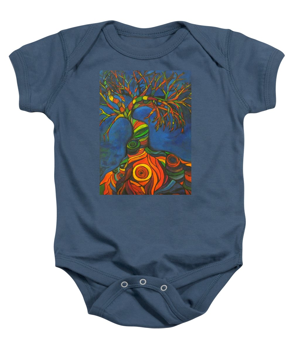 Tree Baby Onesie featuring the painting Twisted Sista' by Kelly Simpson