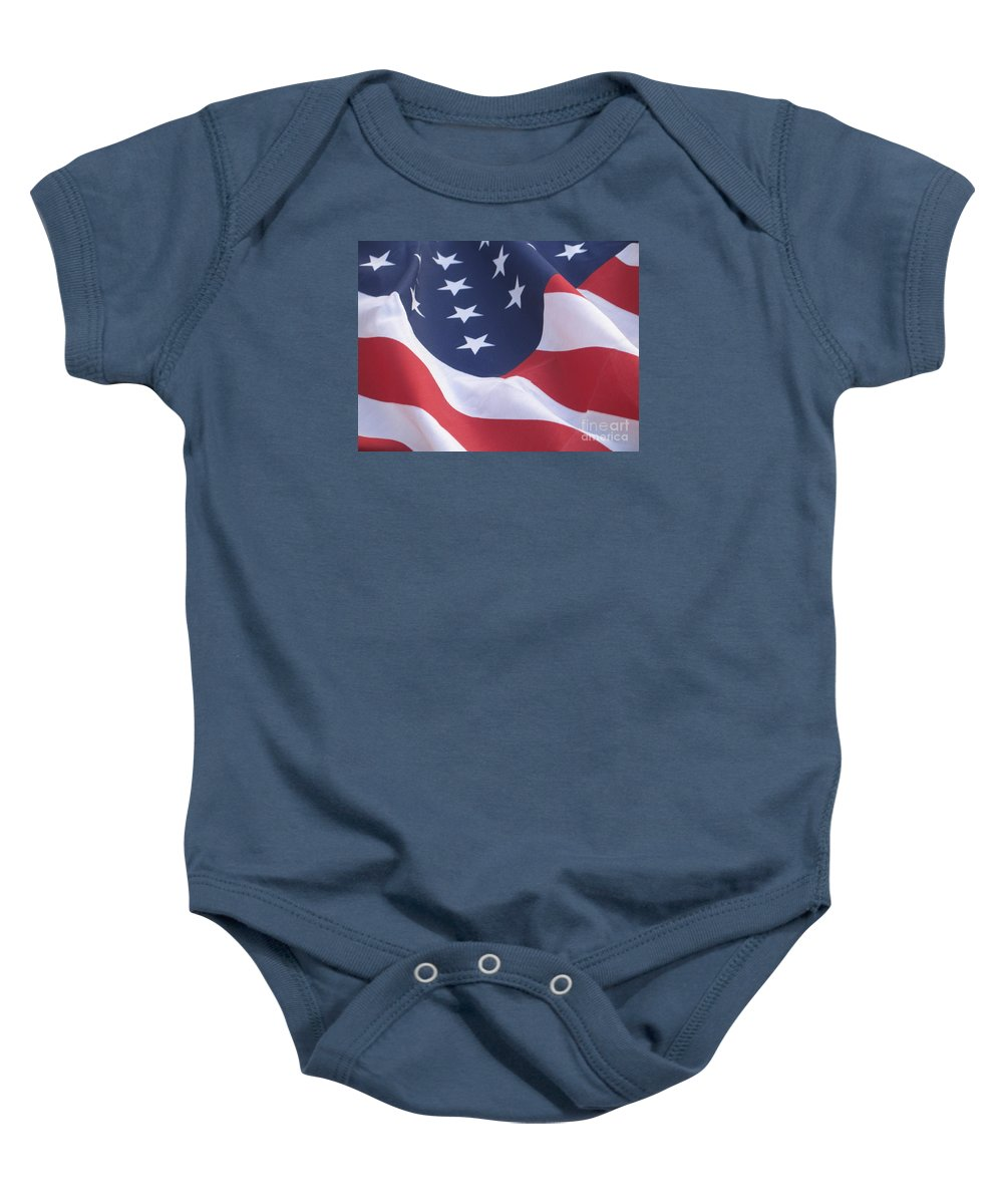 Photography Baby Onesie featuring the photograph United States Flag by Chrisann Ellis
