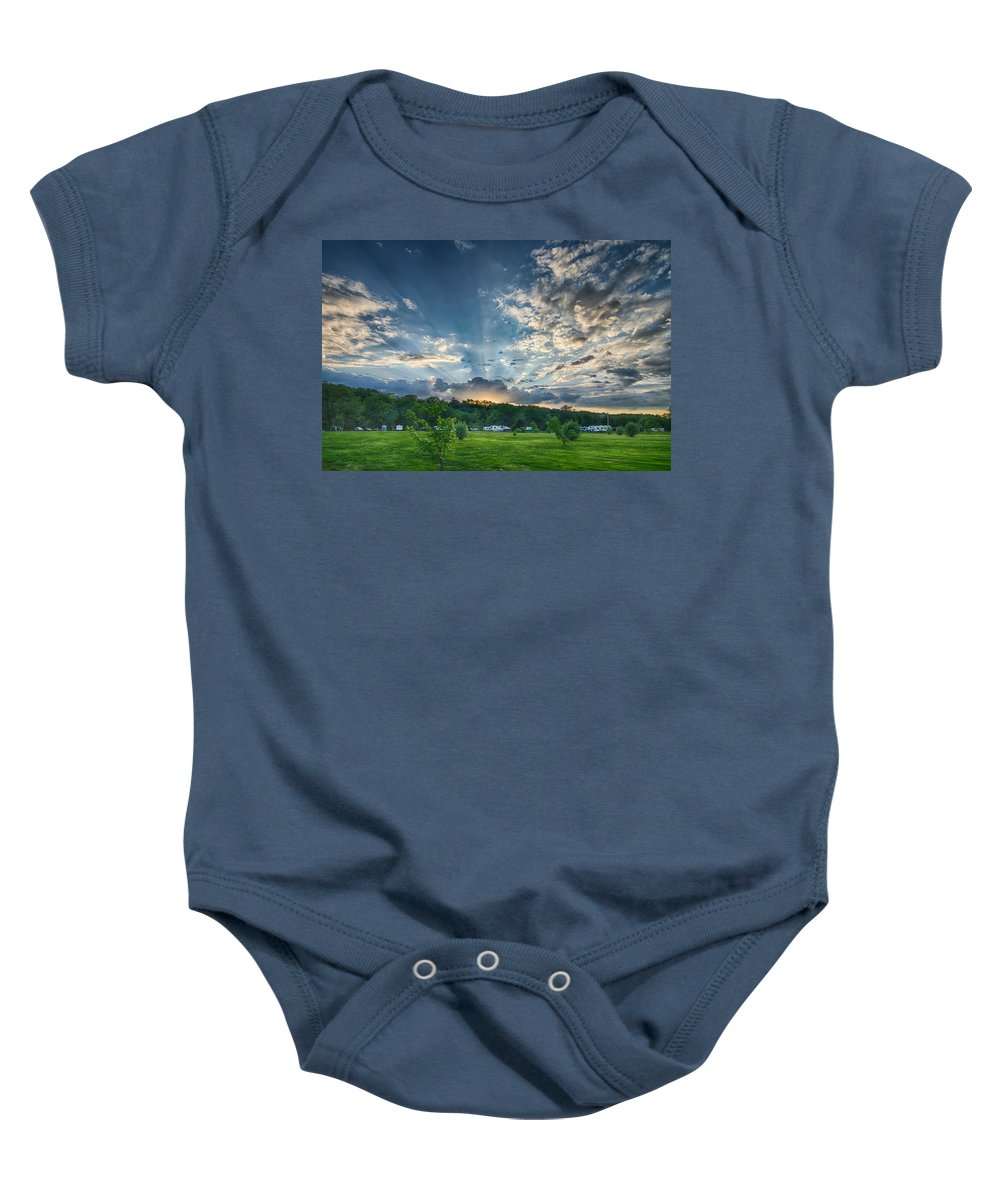 Clouds Baby Onesie featuring the photograph Uptacamp by Guy Whiteley