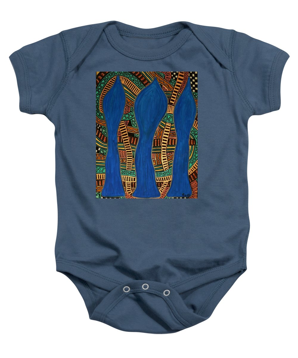 Metallic Baby Onesie featuring the painting Visionary Track by Barbara St Jean
