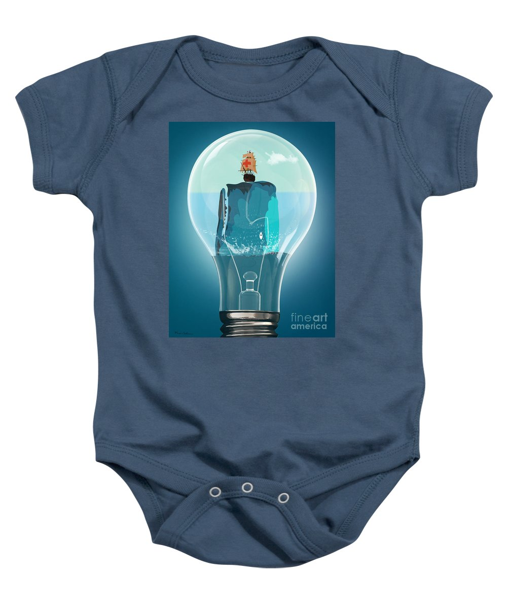 Moby Dick Baby Onesie featuring the digital art Whale Lights by Mark Ashkenazi