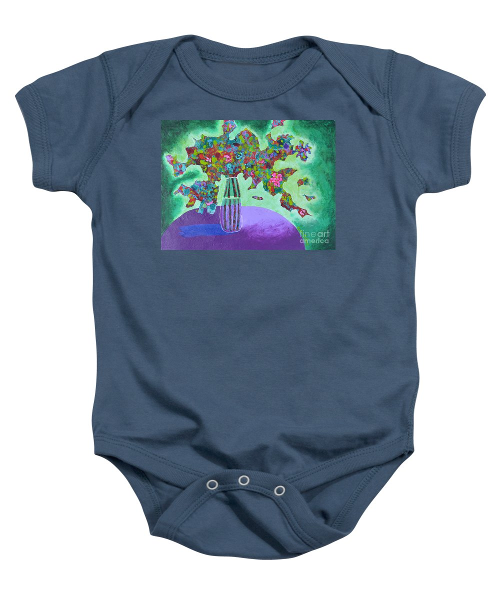 Abstract Baby Onesie featuring the painting Wild Abandon by Marta Tollerup