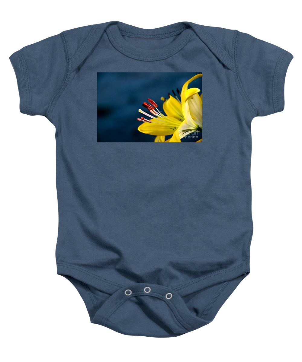 Lily Baby Onesie featuring the photograph Yellow Lily Stamens by Robert Bales