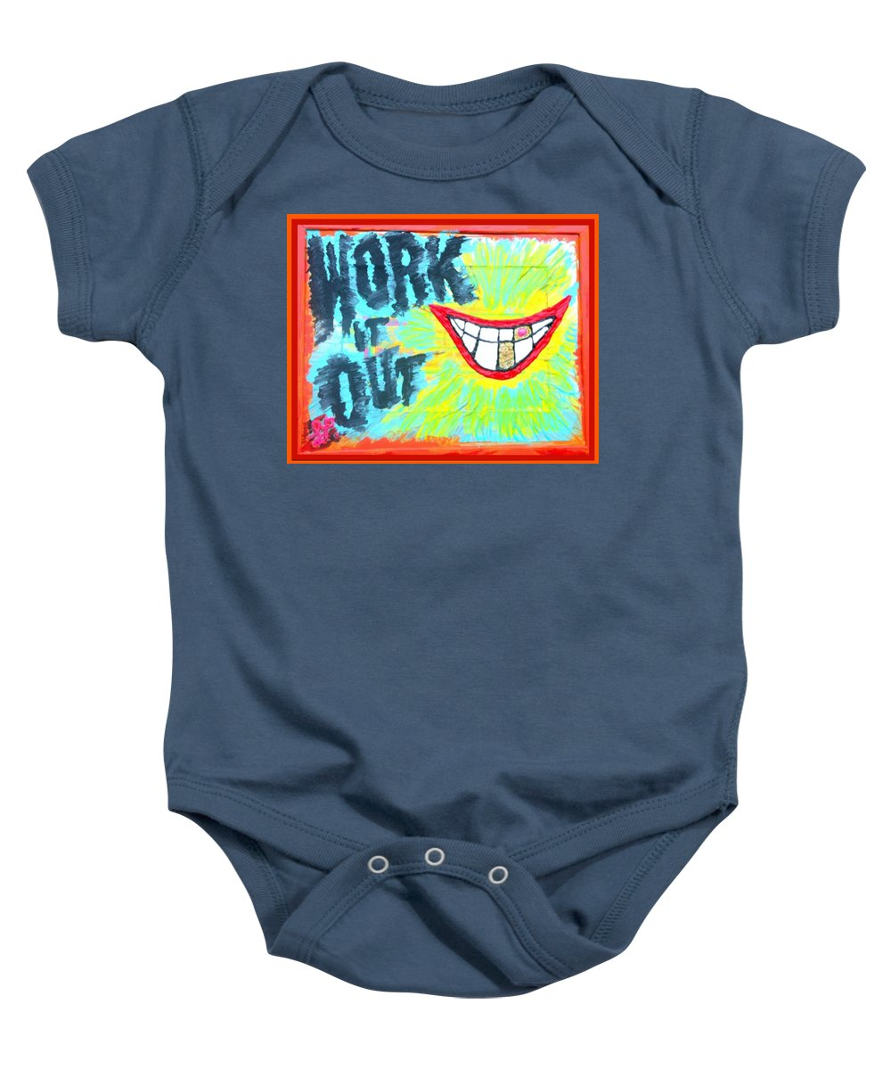 Smile Baby Onesie featuring the painting You Better Work It Out by Lisa Piper