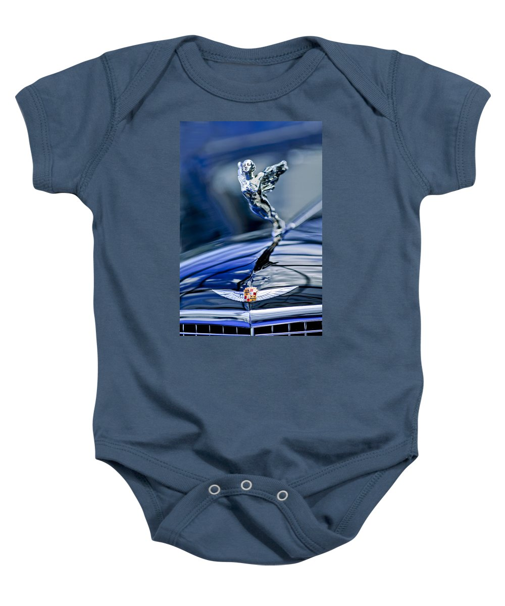 1934 Cadillac V-16 452 Two-passenger Stationary Coupe Baby Onesie featuring the photograph 1934 Cadillac V-16 452 Two-passenger Stationary Coupe Hood Ornament And Emblem by Jill Reger