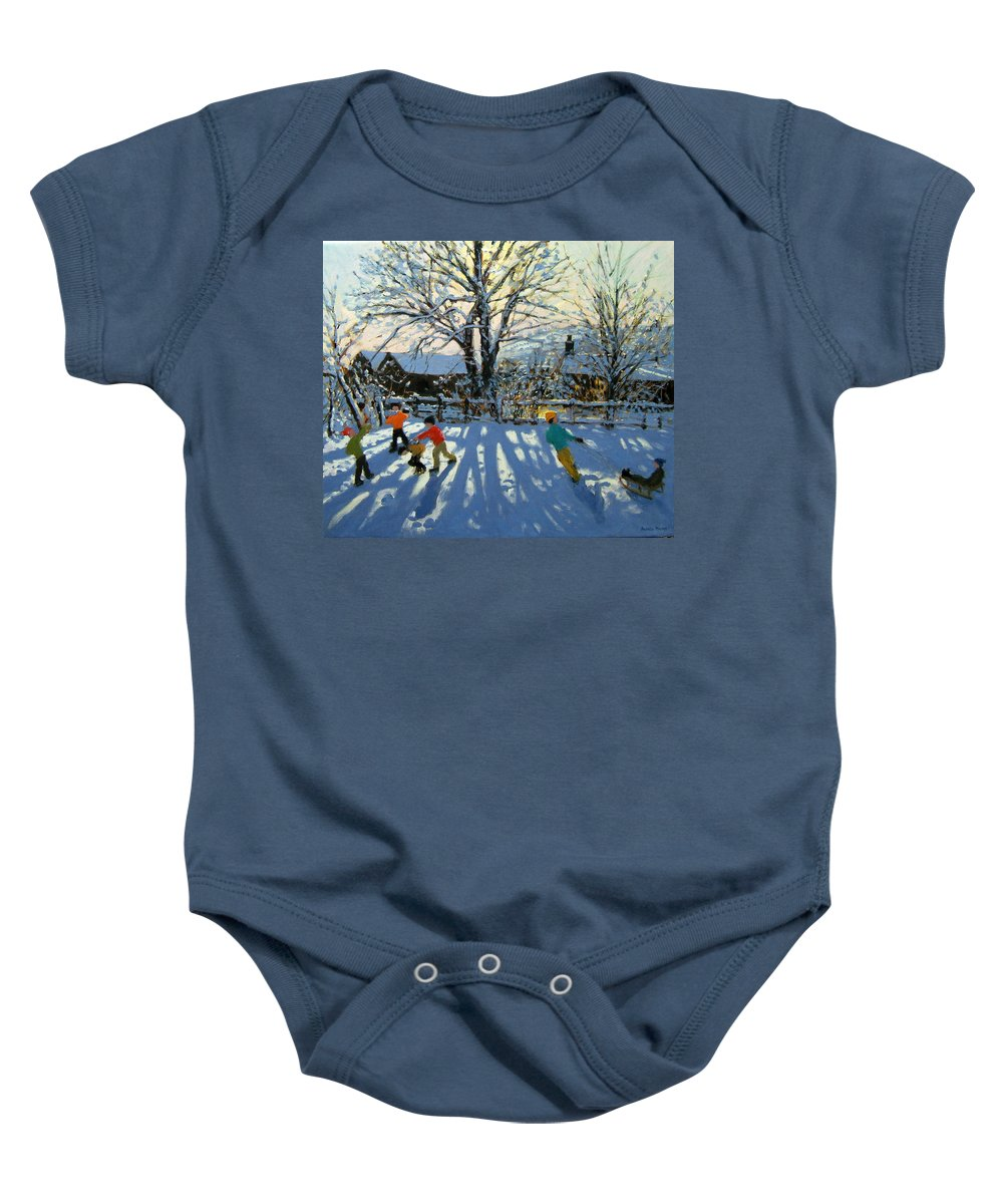 Sledge Baby Onesie featuring the painting Fun In The Snow by Andrew Macara