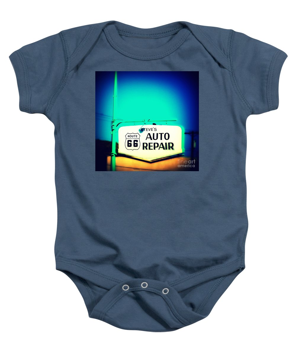 Auto Repair Baby Onesie featuring the photograph Auto Repair Sign On Route 66 by Susanne Van Hulst