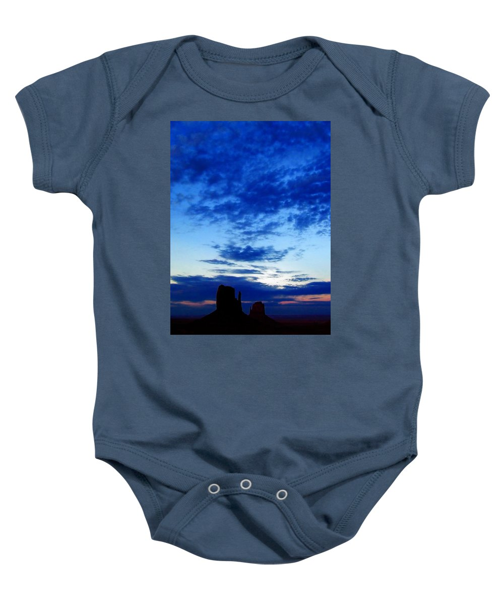 Baby Onesie featuring the photograph Cloudy Blue Monument by Mark Valentine