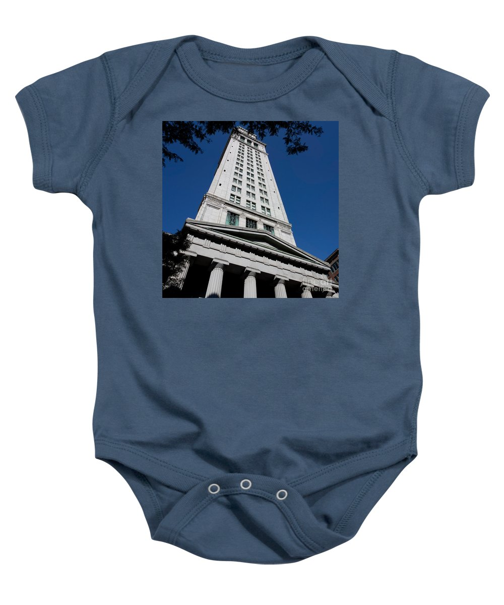 Architecture Baby Onesie featuring the photograph Custom House Boston by Thomas Marchessault