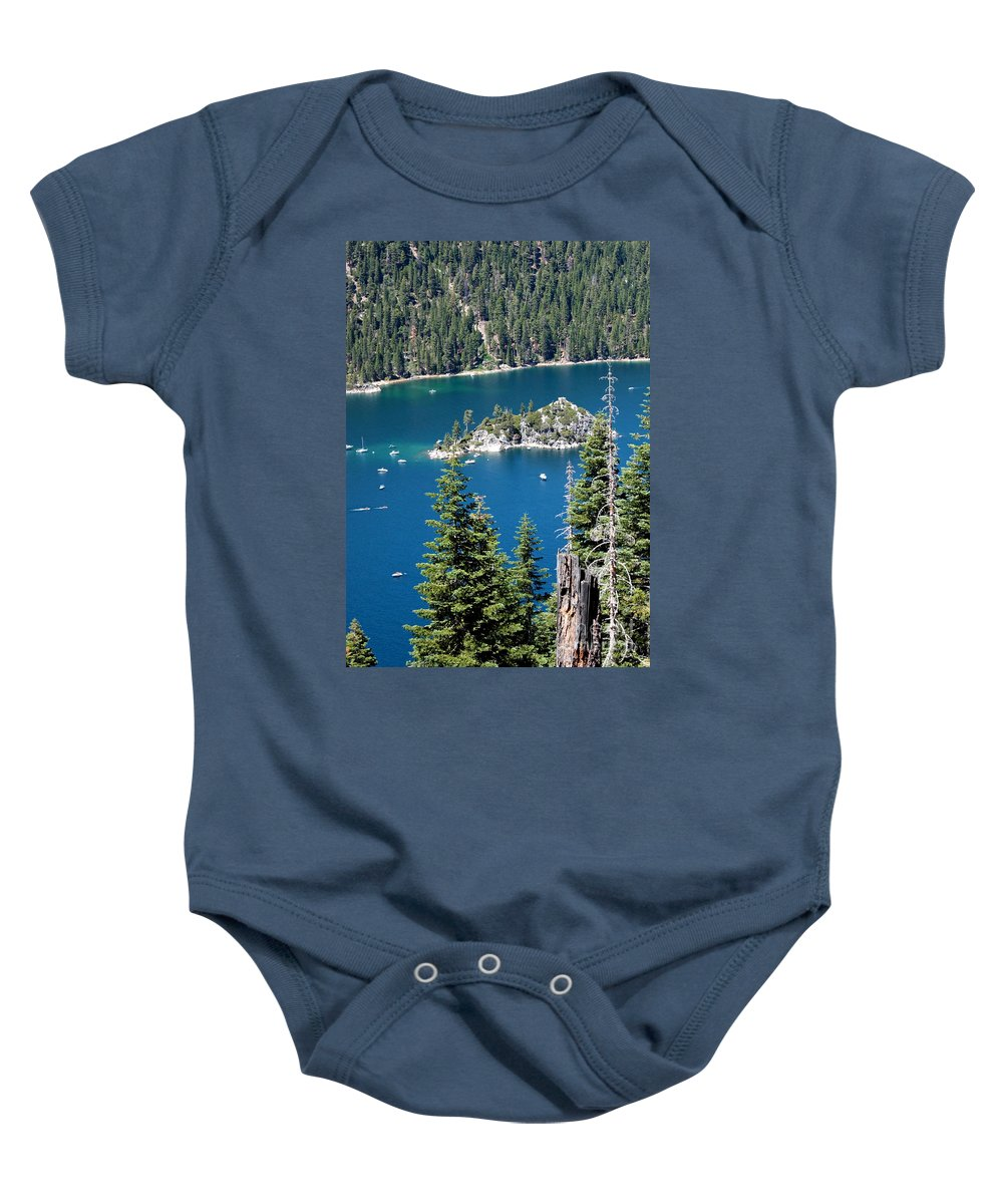 Emerald Bay Baby Onesie featuring the photograph Emerald Bay Vertical by Carol Groenen