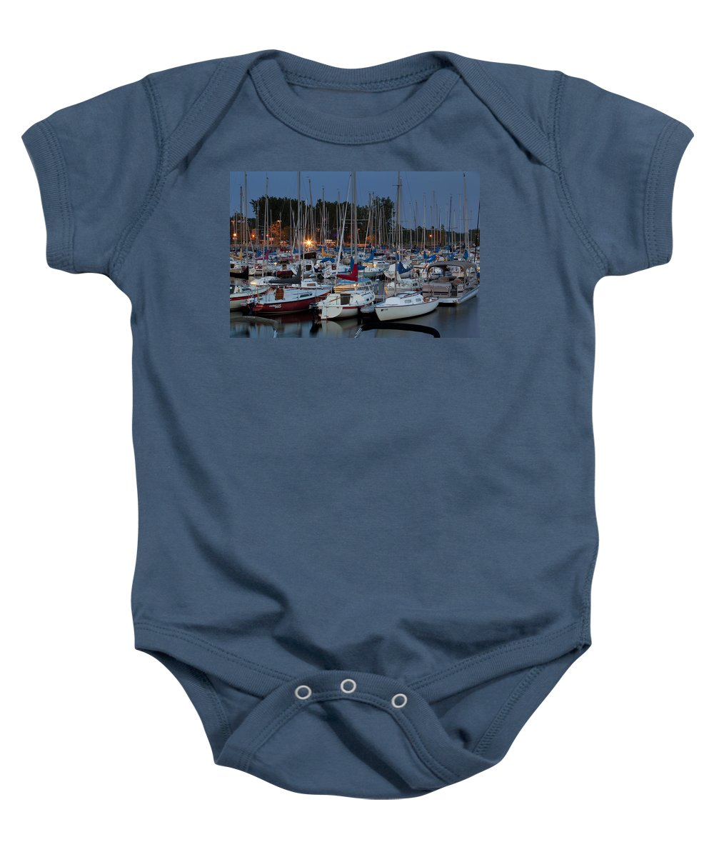 Marina Baby Onesie featuring the photograph Evening At The Marina by Eunice Gibb