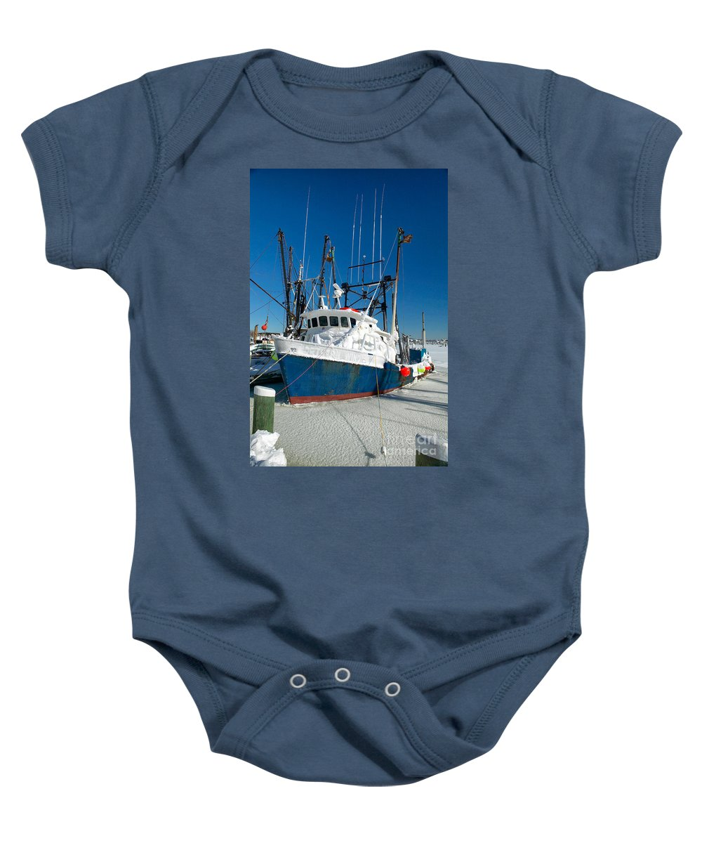 Winter Baby Onesie featuring the photograph Fishing Boats In Frozen Hyannis Harbor by Matt Suess