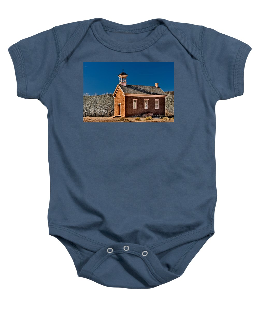 Grafton Baby Onesie featuring the photograph Grafton Schoolhouse by Christopher Holmes