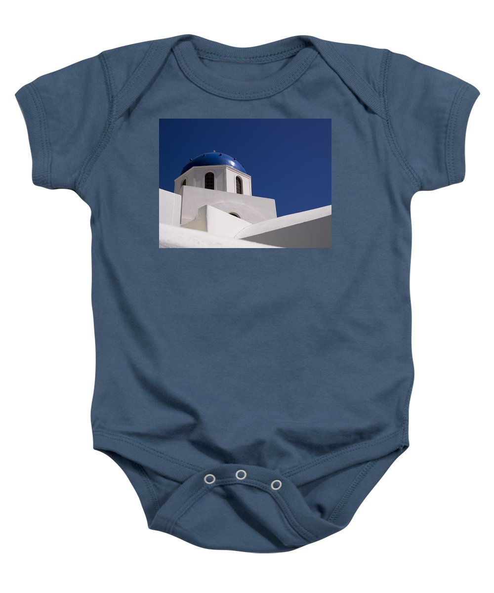 Architectural Detail Baby Onesie featuring the photograph Greek Architecture, Santorini, Greece by Keith Levit
