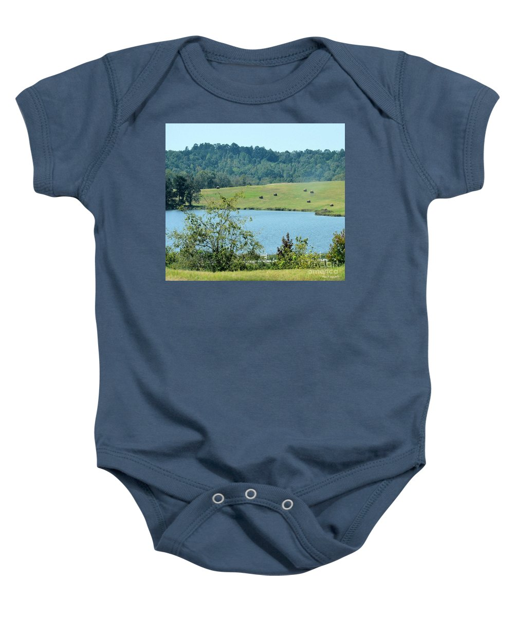 Hay Rolls On A Hill Baby Onesie featuring the photograph Hay Rolls On A Hill by Maria Urso