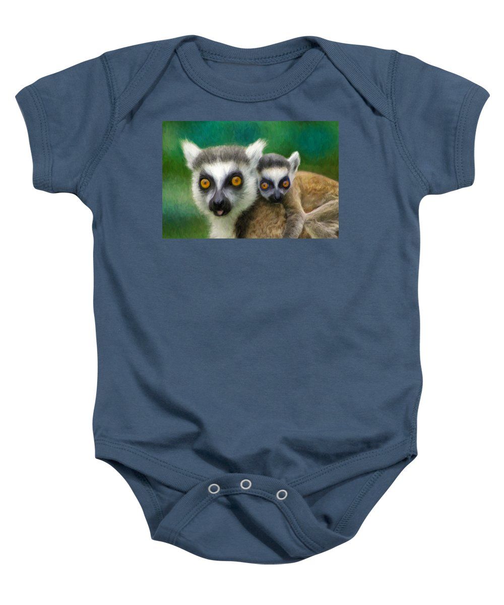Lemurs Baby Onesie featuring the painting Lemurs by Dominic Piperata
