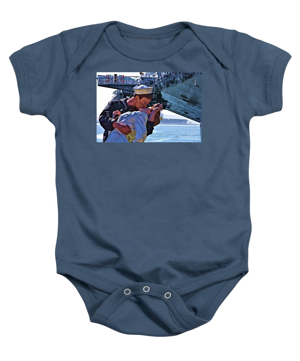 Sailor Baby Onesie featuring the digital art Love Of A Sailor by Tommy Anderson